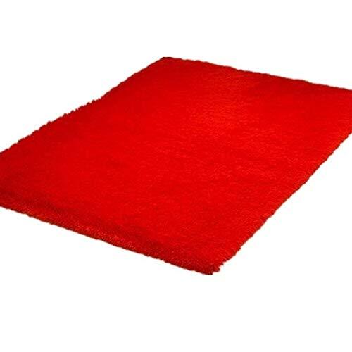 CNmuca Tapetes macios e fofos de tamanho grande Tapete anti-derrapante para área desgrenhada Tapetes de piso para salas de estar, quarto, banheiro, suprimentos para casa, vermelho 80 x 160 cm