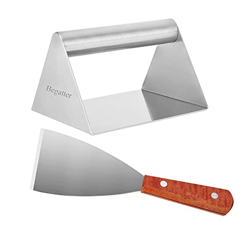 """Begatter Burger Press, Stainless Steel Grilling Accessories with Spatula - Perfect for Cooking Burger Patties, Bacon on Griddles and Flat Top Grills, 6.3""""L×5.1""""W"""