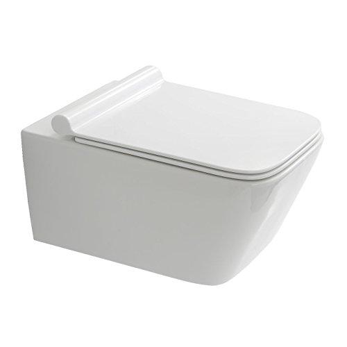 NEG Hänge-WC Uno19 SlimLine (Tiefspüler/eckig) Toilette mit geschlossenem Unterspülrand, Duroplast Soft-Close-Deckel und Nano-Beschichtung