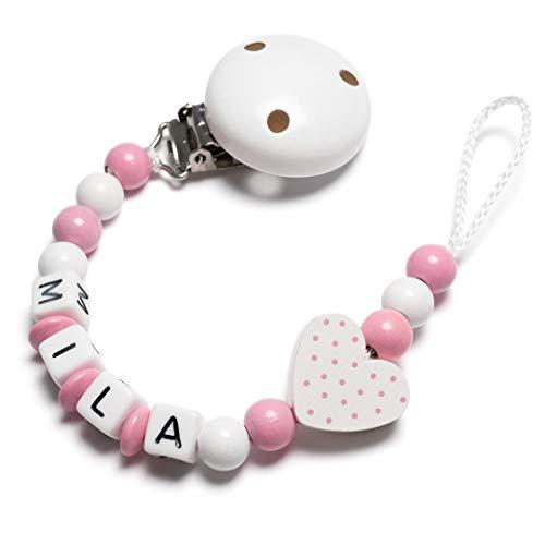 Schnullerkette mit Namen - Auto, Herz, Eule, Wolke, Stern für Mädchen und Jungen (Herz, rosa, weiß)