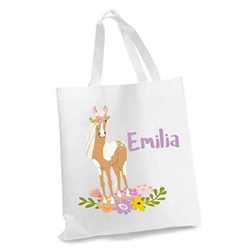 wolga-kreativ Stofftasche Einkaufstasche Pony mit Name Stoffbeutel Kindertasche Sportbeutel Schuhbeutel Wäschebeutel Stoffsäckchen Jutebeutel Schultertasche Mädchen Junge