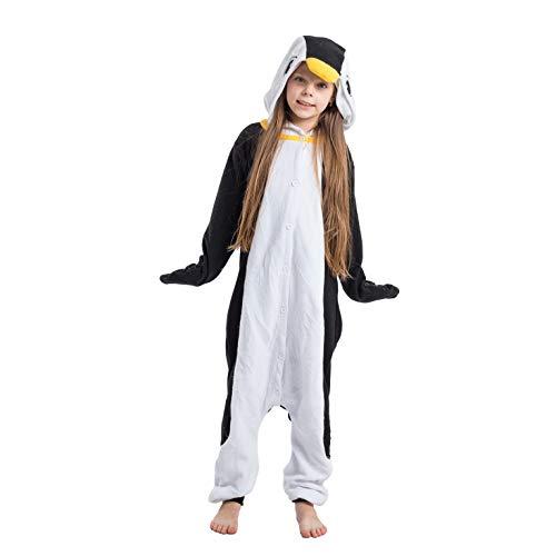 Spooktacular Creations Unisex Child Pajama Plush Onesie One Piece Penguin Animal Costume (10-12yr)