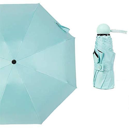 DevilLover Leichte Klappschirm Mini Travel Kleine Falte Tasche Regenschirm Doppelschicht Sunblock Uv Schutz UPF 50 + RegenbestäNdig,Clear-Blue