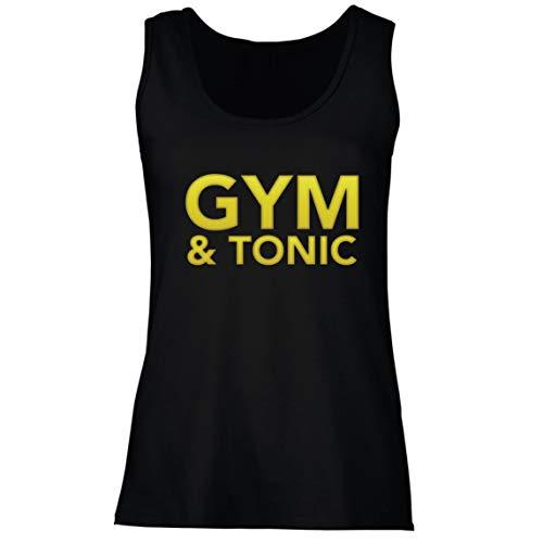 lepni.me Camisetas sin Mangas para Mujer Gimnasio y Tónica Divertida Regalo para los Amantes de la Ginebra de Fitness (Small Negro Multicolor)