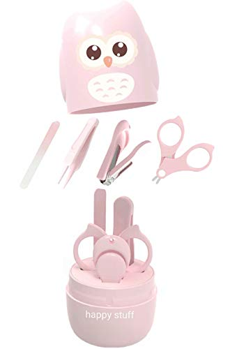 Baby Nail Kit,4-in-1 Baby Nail Care Set with Cute Case,Baby Nail Clipper,Nail File & Tweezers,Scissors,Owl Pink Baby Manicure Kit and Pedicure kit for Newborn,Infant,Toddler,Kids Gifts,Pink