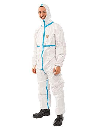 Protec Plus Overall Chemikalienschutzkleidung Schutzanzug EN14126 Kategorie 3 Typ 4/5/6 weiß XL
