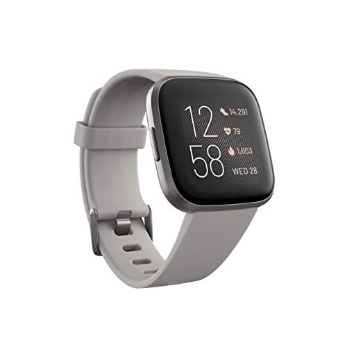 Fitbit FB507GYSR Versa 2 Health & Fitness Smartwatch with Heart Rate, Music, Alexa Built-in, Sleep & Swim Tracking, Stone/Mist Grey,...