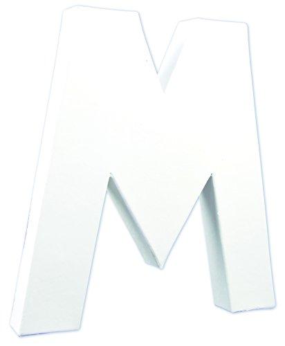 Décopatch Mache Large Letter M, 3x19.5x20.5 cm - White