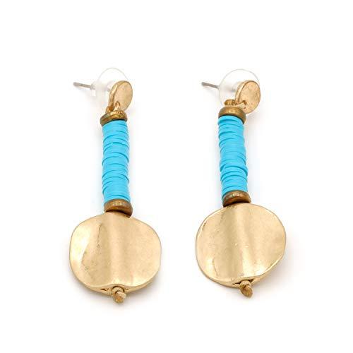 Pendientes Largos Medalla, Original para Mujeres. Pendientes Largos de Metal Dorado, apúntate a la Moda de la bisutería étnica. (Azul Turquesa)