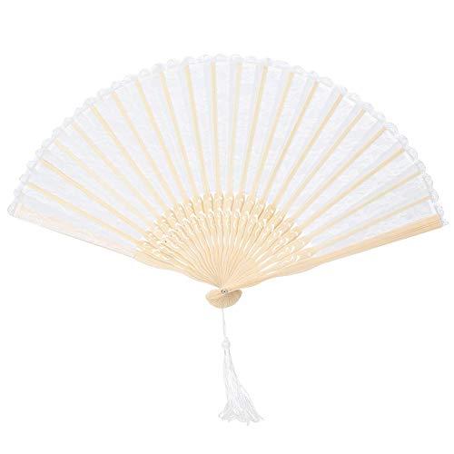 Abanico de mano, abanico de mano plegable de doble capa vintage, bambú para bodas, regalos para...