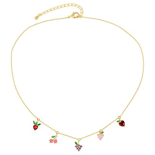 AoedeJ 14K Gold Plated Fruit Basket Choker for Women Girls Cute Summer tropical Fruit Cherry Grape Apple Crystal Pendant Necklace