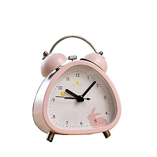XXSW Pequeño triángulo analógico Twin Bell Reloj de Alarma, Forma Linda con retroiluminación y Alarma Fuerte for durmientes Pesados, operado por batería, robustez (Color : Pink)