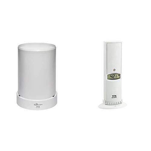 TFA Dostmann Weatherhub Funk-Regenmesser, 30.3306.02, Überwachung über das Smartphone & Weatherhub Thermo-Hygro-Sender, 30.3312.02, SmartHome, hohe Genauigkeit
