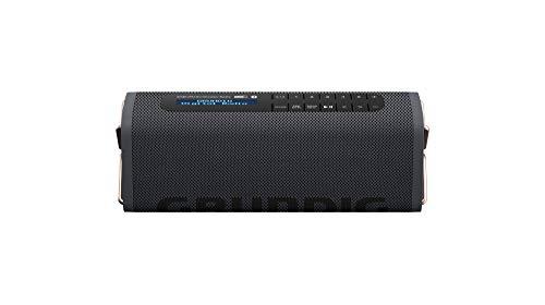 Grundig GBT Band Black - Bluetooth Lautsprecher mit DAB+ und UKW Radio, 30 Meter Reichweite, mehr als 8 Std. Spielzeit