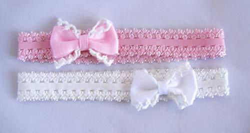 Pack de 2 diademas con lazos para bebé en colores rosa y blanco. Envío GRATIS 72h