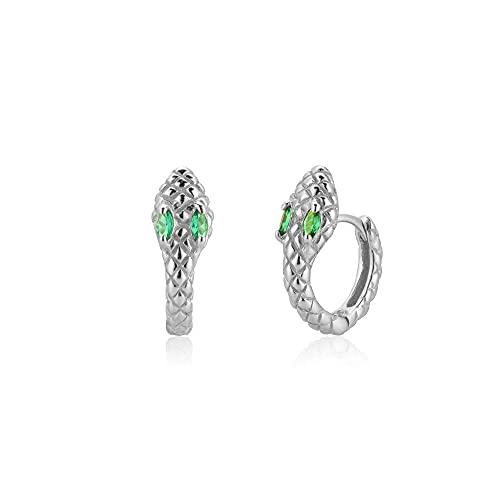 Pendientes Mujer Plata De Ley 925 Arco Iris Colorido Ojo Circón Cz Círculo Aros Huggies Clips De Mujer Colgante De Serpiente Jewelry Green Silver