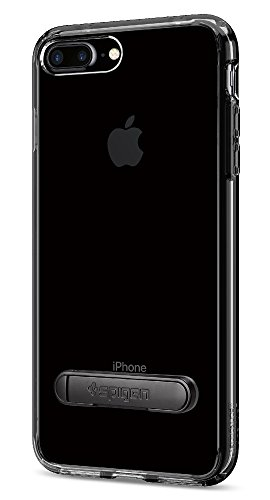 Spigen Coque iPhone 8 Plus, Coque iPhone 7 Plus, [Ultra Hybrid S] Metal Kickstand [Noir de Jais] Clear Back Panel + TPU Bumper Housse Etui Coque pour iPhone 8 Plus et 7 Plus - (043CS20848)