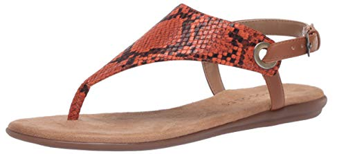 Aerosoles Women's Thong Sandal Flip-Flop, Orange Snake, 7.5 B (M)