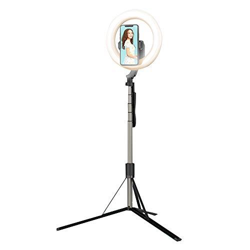 Haihui Anillo de luz LED de 8 pulgadas, con trípode y soporte para selfies, 3 modos de luz, 9 niveles de brillo ajustables