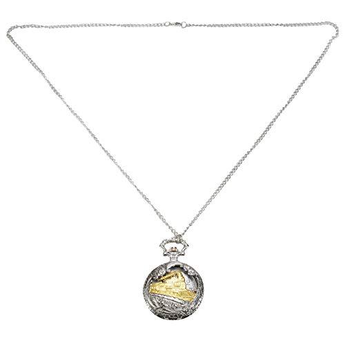 TOOGOO Reloj de Bolsillo de Cuarzo Hueco Locomotora de Tren de Oro Caja de Plata Vintage Pendiente de Collar Regalo de La Se?Ora de Los Hombres