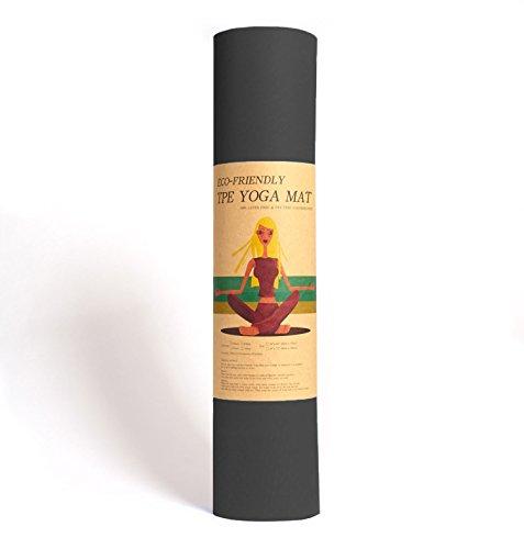 Yoga-Matte Pro Schwarz von Epic Brands aus umweltfreundlichem TPE-Schaum. Sehr rutschfeste, schadstofffreie, hypoallergene und hautfreundliche Gymnastik-Matte, Fitness-Matte, Turn-Matte