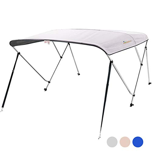 """KING BIRD 3 Bow Bimini Boat Top Cover Sun Shade Boat Canopy Waterproof 1 Inch Stainless Aluminum Frame 46"""" Height with Rear Support Poles and Storage Boot 3 Colors -5 Sizes (Grey, 61""""-66"""")"""