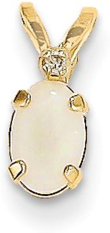 Diamond2Deal 14k Yellow gold Diamond Opal Birthstone Pendant