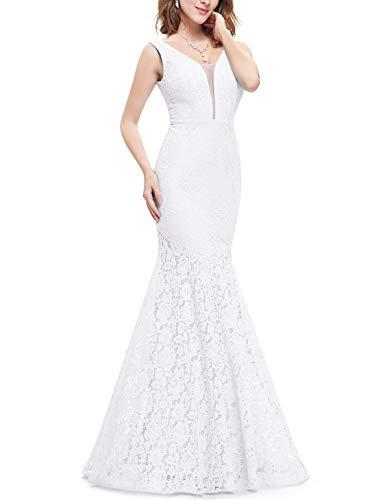 Ever-Pretty Vestito da Sposa Donna Pizzo Sirena Scollo a V Senza Maniche Stile Impero Lungo Bianco 44