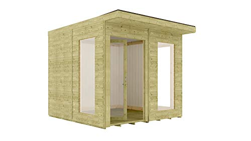 8 x 10 Garden Room Home Office Pressure Treated Pent Roof Clubhouse Bi-Fold Doors with Opening Windows 2.4m x 3m