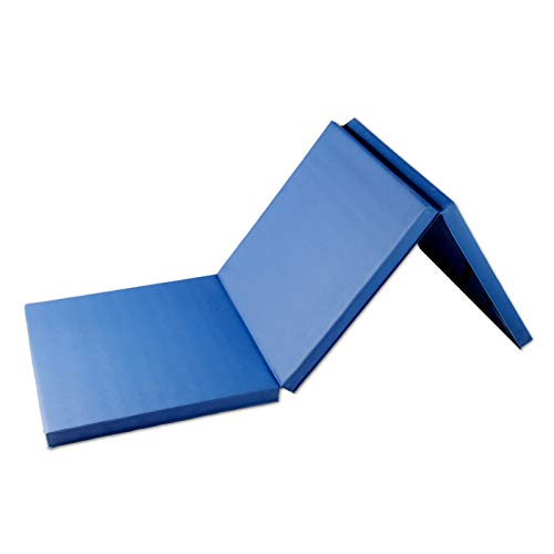 CCLIFE Colchoneta Plegable de Espuma para Gimnasia Yoga Deportiva Yoga estrilla Triple Plegable 180/60/5cm, Color:180x60x5cm Azul
