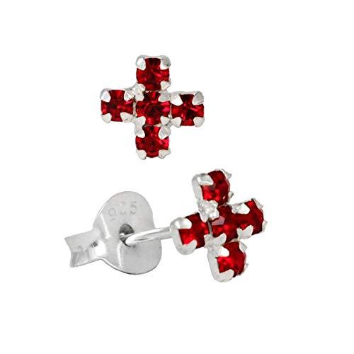 NKlaus PAAR 925 Pendientes de PLATA ESTERLINA cruz medieval cristal rojo 7040