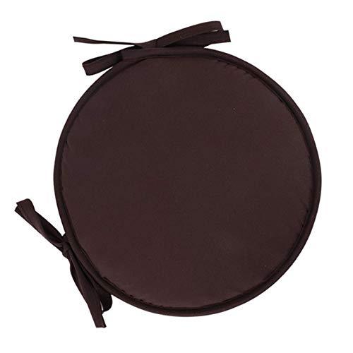 Juego de 2 Cojines Redondos para Silla de Comedor, con Lazos, Cojines universales para Asiento, Cojines para Interior y Exterior, jardín, Cocina, marrón Oscuro, 30 x 30 cm (12 x 12 Pulgadas)