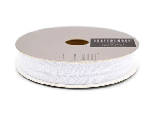 CRAFTMEMORE 1 Inch Twill Tape Fabric Ribbons Webbing Herringbone Twill Bias Binding Tape for Clothes Sewing Craft Trim Lace 18 Yards (MP1 White)