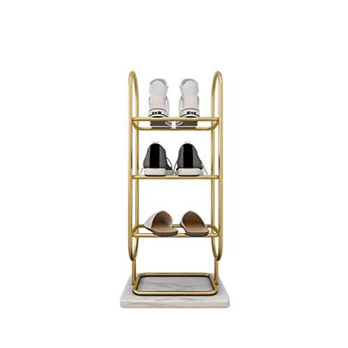zapatero Luz nórdica Lujoso Hierro Zapato Rack Mármol Base Shoe Shelf Multilayer Inicio Entrada Sala de estar Almacenamiento de zapatos Organizador Zapateros ( Color : Gold white , tamaño : 4 Tier )