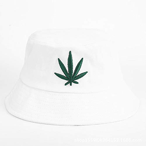 LORSOUL Men Women Maple Leaf Bucket Hat Hip Hop Fisherman Panama Hats Embroidery Cotton Outdoor Summer Casual Visor Bucket Cap,white