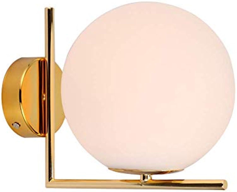 SGWH Wandleuchte, moderner minimalistischer Glaskugelkorridor verGoldete Nachttischlampe milchweie magische Bohne