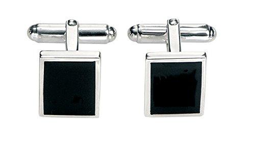 Fred Bennett Herren-Manschettenknöpfe 925 Sterling Silber Achat schwarz V327B Rechteckige Manschettenknöpfe mit schwarzem Achat