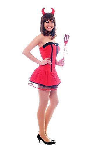 DRESS ME UP - Set para disfraz mujer: diablesa , diablita, she-devil con cuernos y tridente L036.