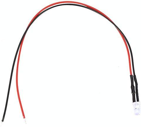 White 10Pcs 12v 5mm LED Diodo Emisor de Luz Cableado Cable de Luz LED Multicolor Cableado de Diodo Emisor de Luz de Bajo Consumo 20cm 0.06W