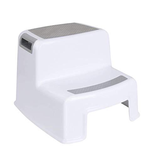 Funhoo Rutschfester Tritthocker Trittschemel für Kinder, 2-Stufen Schemel zum Toilettentraining, Händewaschen in Badezimmer, Kinderzimmer, Küche - Weiss/Grau