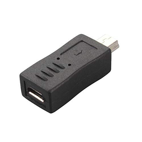 Bellaluee Convertidor de Adaptador Micro USB Hembra a Mini USB Macho de Color Negro portátil y Elegante Cómodo de Usar