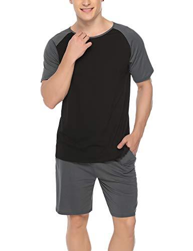 Hawiton Herren Schlafanzug Kurz Sommer Pyjama Nachtwäsche Set Kurzarm Shorty Baumwolle mit Kontrastfarbe Dunkelgrau M