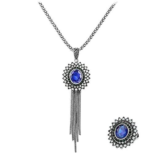 YUANBOO 3 unids Regalo de Lujo Borla de Resina Azul Collares y Pendientes Anillo para Las Mujeres Conjuntos de joyería de Boda Vintage de Color Plateado (Length : 55cm, Ring Size : 8)