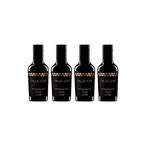 Milleulivi - Aceite de Oliva Virgen Extra - Biologico - Paquete de cuatro botellas 250 ml - Sabor afrutado ligero- Cultivar principalmente Coratina - 100% Italiano