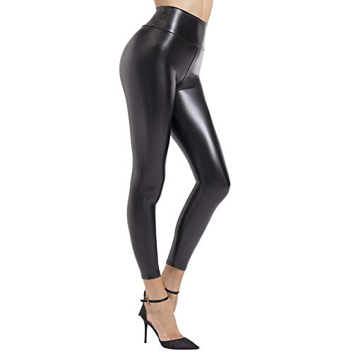 BOOTY GAL Faux Leather Leggings for Women High Waist Pants Black Elastic Tights