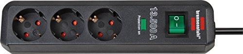 Brennenstuhl Eco-Line, Steckdosenleiste 3-fach mit Überspannungsschutz (Steckerleiste mit erhöhtem Berührungsschutz, Schalter und 1,5m Kabel) anthrazit