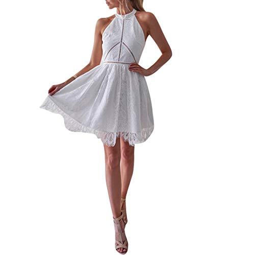 NPRADLA 2018 Herbst Winter Damen Kleider Elegant Frauen Manteltee Einfarbig V-Ausschnitt Spitze Patchwork Langarm Rückenfrei Party Verband Mini (S/36, X-Weiß)