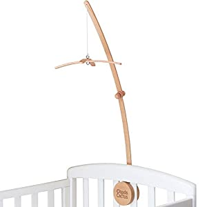 Clouds and Cactus Crib Mobile Arm 33 Inches for Baby Nursery – 100% Natural Beech Wood with Extra Matching Wooden Holder Attachment and Anti Slip Clamping System