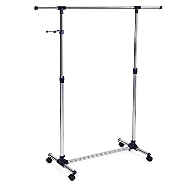 SONGMICS Heavy Duty Height Adjustable Rolling Clothing Garment Rack Portable Clothes Rack on Wheels ULLR01L
