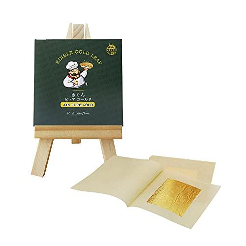 KIRIN Foglia Oro Commestibile 24k Foglia d Oro Decorazione 10 Fogli Lamina d'oro Puro Commestibile da Cottura a Torta (5 * 5)